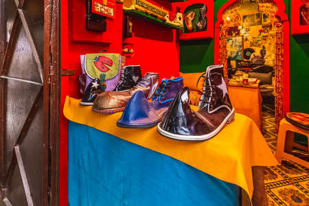 Shoes at the traditional Moroccan market of Fes, Morocco. Fes, Morocco. April 10 2016.