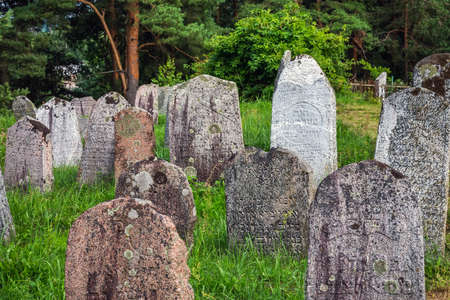 Jewish cemetery. The Jews from the ghetto were gathered near the Druyka River and shot into a large grave. More than 1,000 Jews were killed in Druya. Druya, Belarus - July 19 2020.