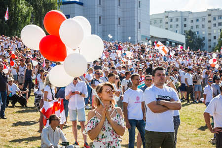 Happy people during biggest peaceful protests in Belarus history against rigged presidential elections in Minsk, Belarus. Minsk, Belarus - August 16 2020.
