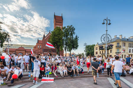 Happy people during biggest peaceful protests in Belarus history against rigged presidential elections in Minsk, Belarus. Minsk, Belarus - August 16 2020. Foto de archivo - 154049242