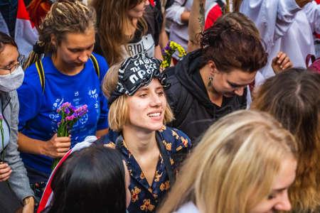 Women during peaceful protests in Belarus against rigged presidential elections in Minsk, Belarus. Minsk, Belarus - August 30 2020. Foto de archivo - 154376235