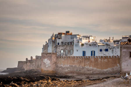 Essaouira old city walls in Morocco. Shot at sunset. Foto de archivo - 156106372