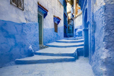 Famous blue city walls of Chefchaouen, Morocco. Foto de archivo
