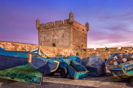 Portugeese fort at Essaouira port in Morocco. Shot after sunset at blue hour.