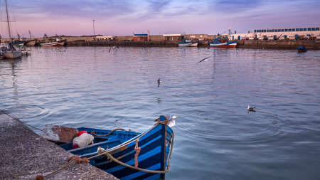 Essaouira port in Morocco. Shot after sunset at blue hour. Foto de archivo - 156106787