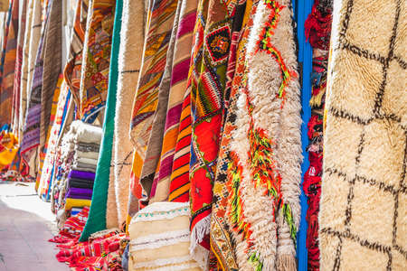 Carpets in the market of Essaouira, Morocco.