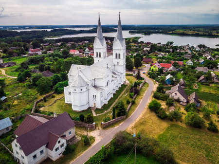 Aerial view of the Church of Divine Providence is a Catholic church in the agricultural town of Slobodka Braslav region, Belarus. An architectural monument in the neo-Romanesque style, built in 1903.
