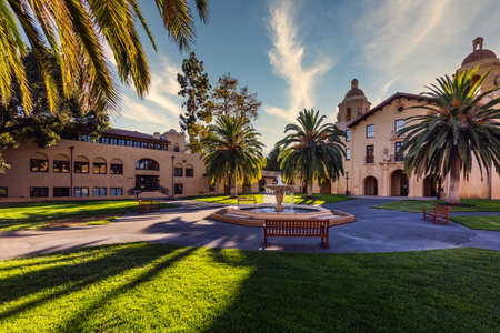 Campus buildings and hallways of the Stanford University, USA. Stanford, USA - September 11 2018.