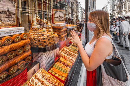 Hafiz Mustafa shop in Istanbul, traditional turkish desserts like baklava, turkish delight, cream brulee, rice puddings, cakes, teas, kunefe, knafeh desserts. Istanbul, Turkey - September 30 2020.