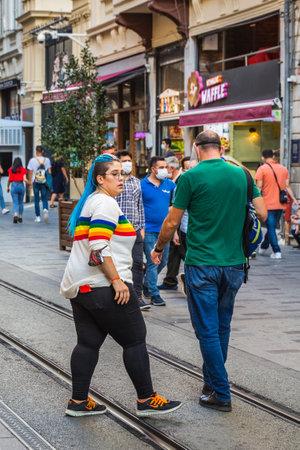 People walking on Istiklal Street in Istanbul. Istanbul, Turkey - September 30 2020. Publikacyjne