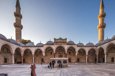 Inner courtyard of the Suleymaniye Mosque. It is an Ottoman imperial mosque in Istanbul, Turkey. It is the largest mosque in the city. Istanbul, Turkey - October 01 2020.