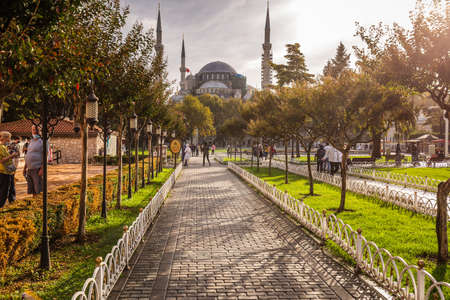Blue mosque is under a renovation in Istanbul, Turkey. Istanbul, Turkey - September 29 2020.