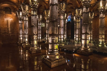 Cistern was built between 428 and 443 (during Byzantine period). It was built by Theodosius. The water carried to the city by the Bozdogan river was stored here. Istanbul, Turkey - September 30 2020.