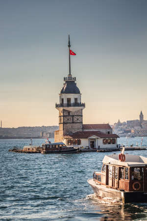 The Maiden's Tower since the medieval Byzantine period, is a tower lying on a small islet located at the southern entrance of the Bosphorus in Istanbul, Turkey. Istanbul, Turkey - October 01 2020.