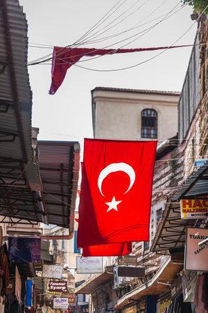Turkish flag in the famous Grand Bazaar. Istanbul, Turkey - September 30 2020.