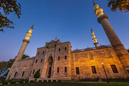 Blue hour shot of the Suleymaniye Mosque is an Ottoman imperial mosque in Istanbul, Turkey. It is the largest mosque in the city .. Istanbul, Turkey - October 01 2020.