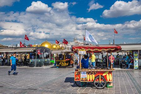 Balik Ekmek (fish bread sandwich) boats at the Galata Bridge in Istanbul. Istanbul, Turkey - September 30 2020. Publikacyjne