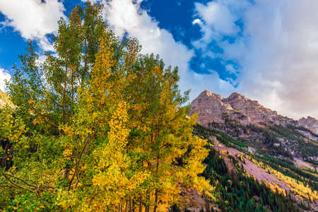 Maroon Bells Snowmass Wilderness USA Foto de archivo