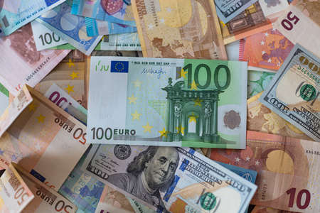 dollar and euro banknotes background