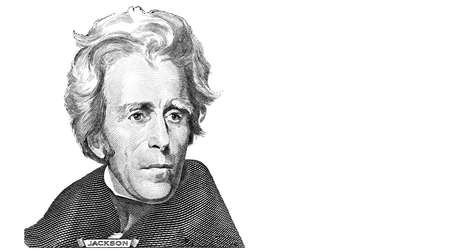 Andrew Jackson cut from 20 dollar banknote for design purpose Reklamní fotografie