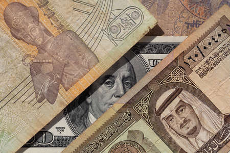 100 US dollar and old one riyal of Saudi Arabia, 50 piastres of Egypt for design purpose