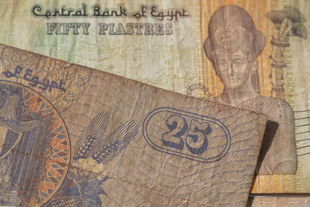 Closeup of 25 and 50 piastres of Egypt for design purpose Stock fotó