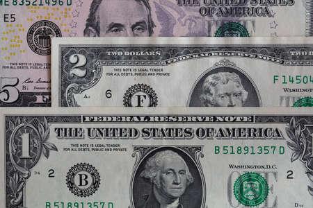 1, 2, 5 US dollar banknotes for design purpose