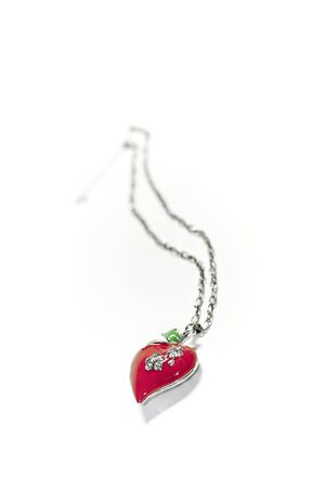 lavaliere: Red heart, pendant, lavaliere, silver, on white background