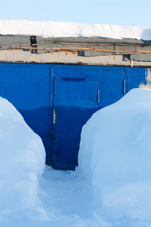 Snow subway to blue iron winch, wicket photo