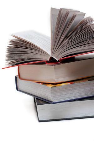 pile of books: Pile di libri isolati su sfondo bianco Archivio Fotografico