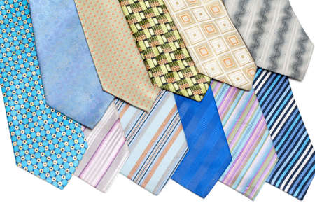 Colour, striped male ties insulated on white background Stock Photo - 4849146