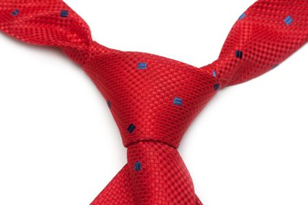 Red male tie, node, insulated on white background Stock Photo - 4849179