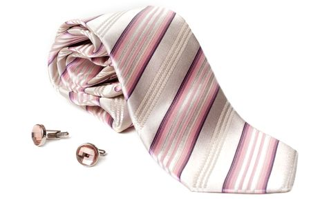 Rose striped tie and cuff links with stone insulated on white background Stock Photo - 4905118
