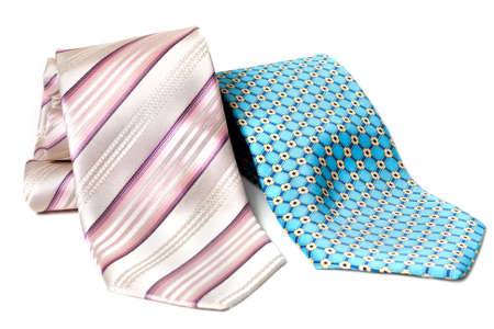 Blue and rose ties convolute on white background Stock Photo - 4905119