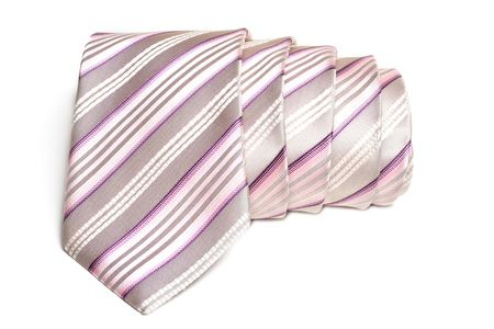 Rose striped tie convolute and is insulated on white background Stock Photo - 4905120