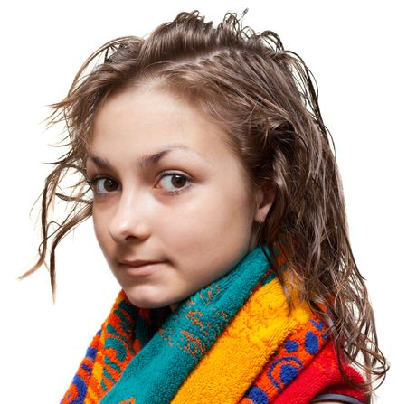 Young girl with wet hair and colour towel on neck, isolat Stock Photo - 5237460