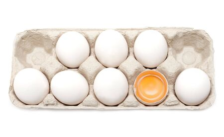 Egg in packing, one is, yolk in shell Stock Photo - 5069237