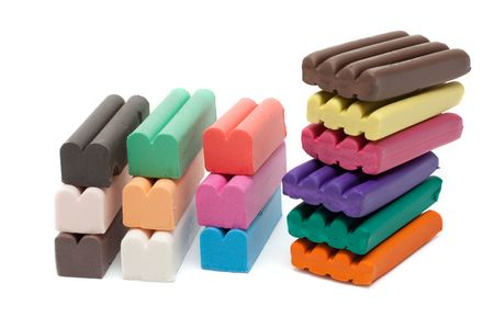 Multicolour piles plasticine insulated on white background Stock Photo - 5089142