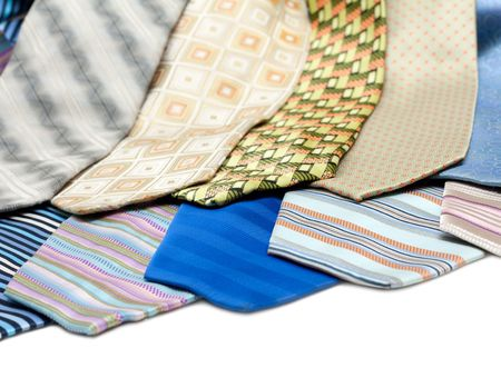 Color, striped male ties insulated over white background Stock Photo - 5122275