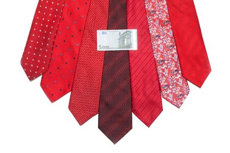 Five euro on red tie on white background Stock Photo - 5122284