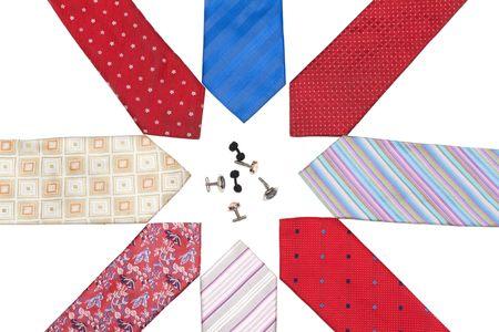 Ties put on white background and cuff links around Stock Photo - 5122286
