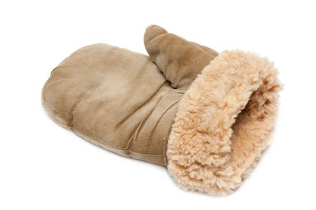 furskin: Winter mitten with fur of the sheepskin on white background