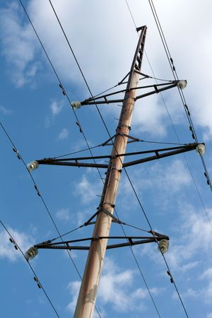Handhold high-tension wire on background blue sky and clouds photo