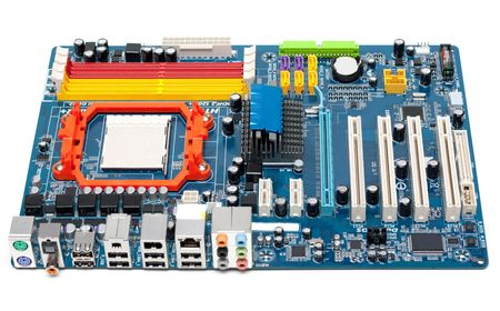 motherboard: Charge motherboard, slots for memory, capacitors, system of the cooling