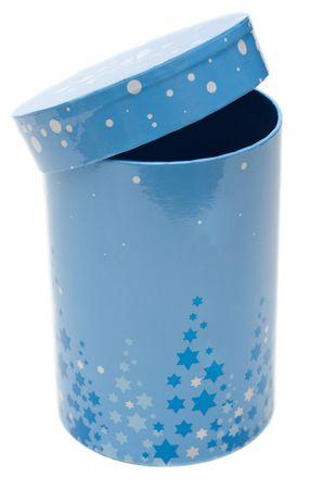 cylindrical: Blu cilindrica piccola casella su sfondo bianco