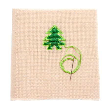 Green spruce to embroider on fabrics, needle photo
