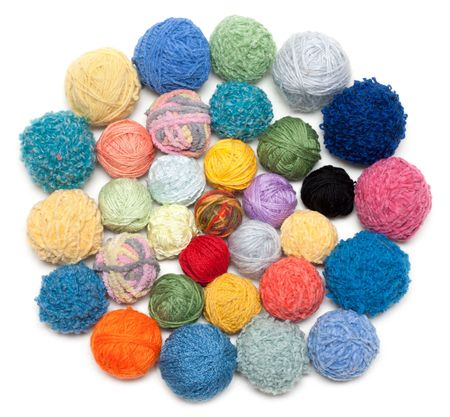 weave ball: Ball of the colour threads for knitting on white background