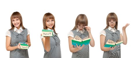 Girl with dictionary English reads on white background, emotions photo