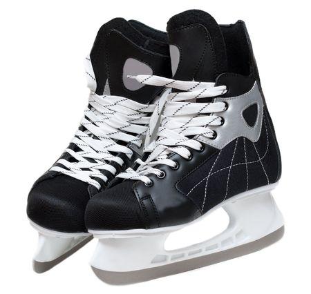 schaatsen: Het hockey schaatsen met kant op witte achtergrond  Stockfoto