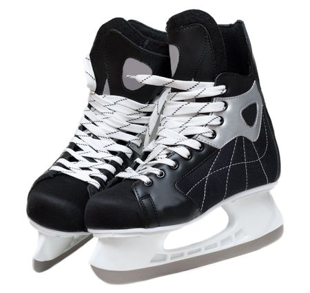 Skates hockey with lace on white background photo